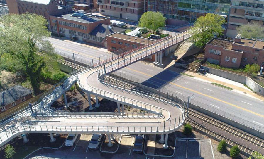 Tarlton Corporation won for the Washington University Pedestrian Bridge in St. Louis, Mo.