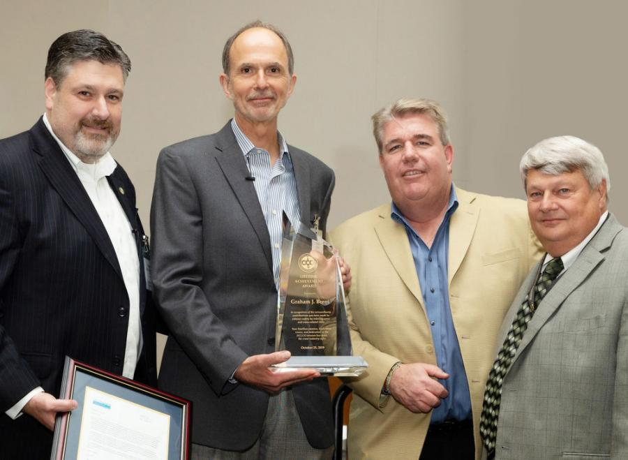 NCCCO presented its inaugural Lifetime Achievement Award to its former CEO, Graham Brent. (L-R) are: NCCCO CEO Thom Sicklesteel; Brent; IUOE General President James T. Callahan; and NCCCO President Kerry Hulse.