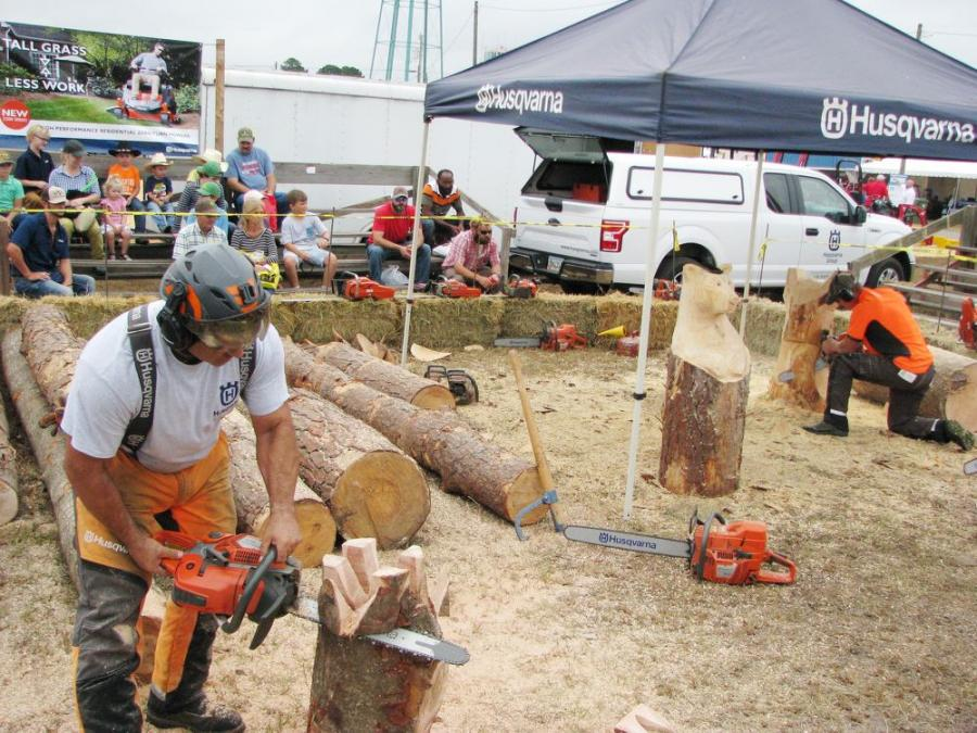 The Husqvarna chainsaw sculping always draws a tremendous crowd of spectators.
