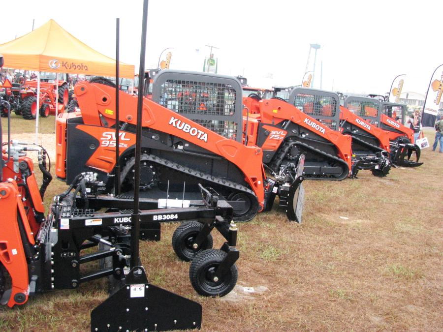 Kubota displayed a wide array of tractors and machines including skid steer loaders and compact track loaders sporting a variety of specialty attachments.