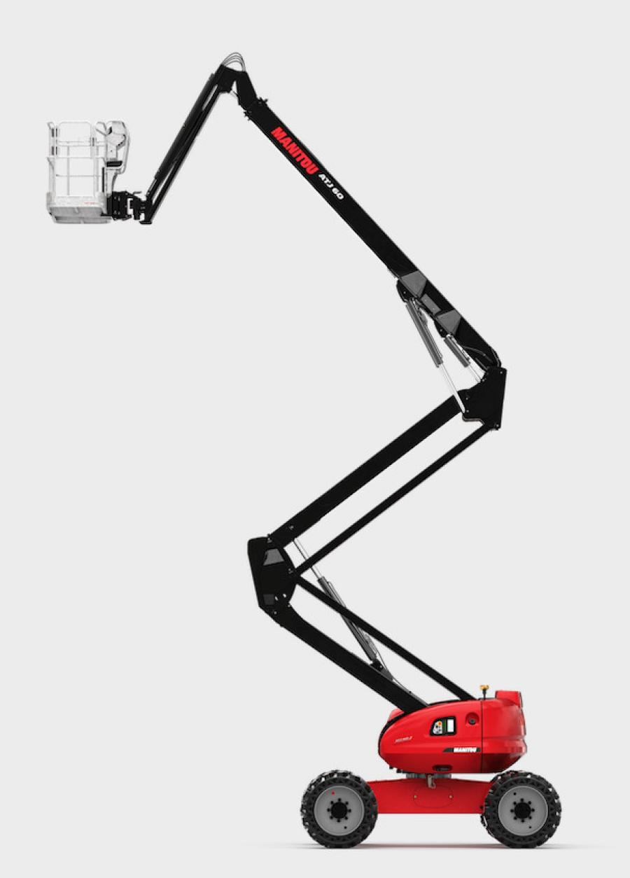 The new Manitou ATJ 60 articulated MEWP has a platform height of 59 ft. 11 in. (18.2 m), an up-and-over reach of 26 ft. 3 in. (8 m) and horizontal outreach of 39 ft. 4 in. (12 m). It comes standard with four-wheel drive, rough-terrain tires, 17 in. (43 cm) of ground clearance and a 500-lb. (226.7 kg) platform capacity.