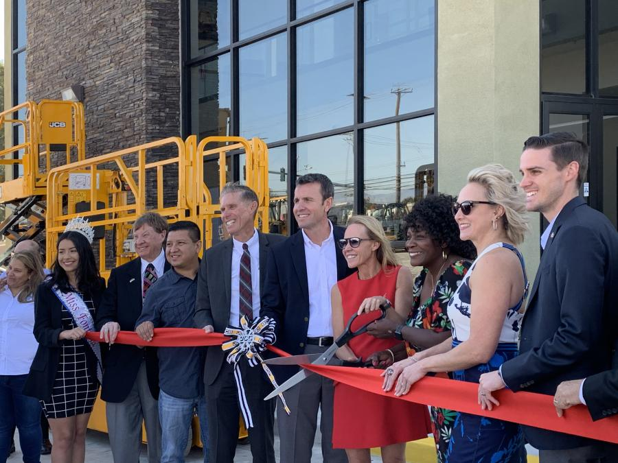 Mayor Acquanetta Warren (third from R) and Alice Bamford join JCB executives and local dignitaries to cut the ribbon to commemorate the opening of the new SoCal JCB premises in Fontana, California.