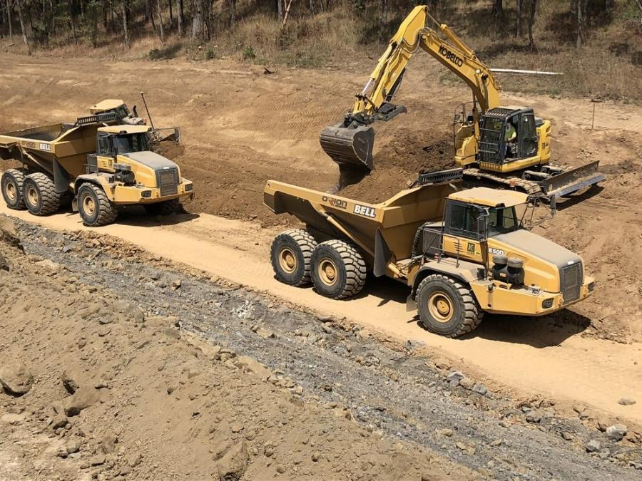 There's a long reach excavator, lots of different sized dozers and compactors. It's a 3-mi. work area. They can have things staged on multiple parts of the project.