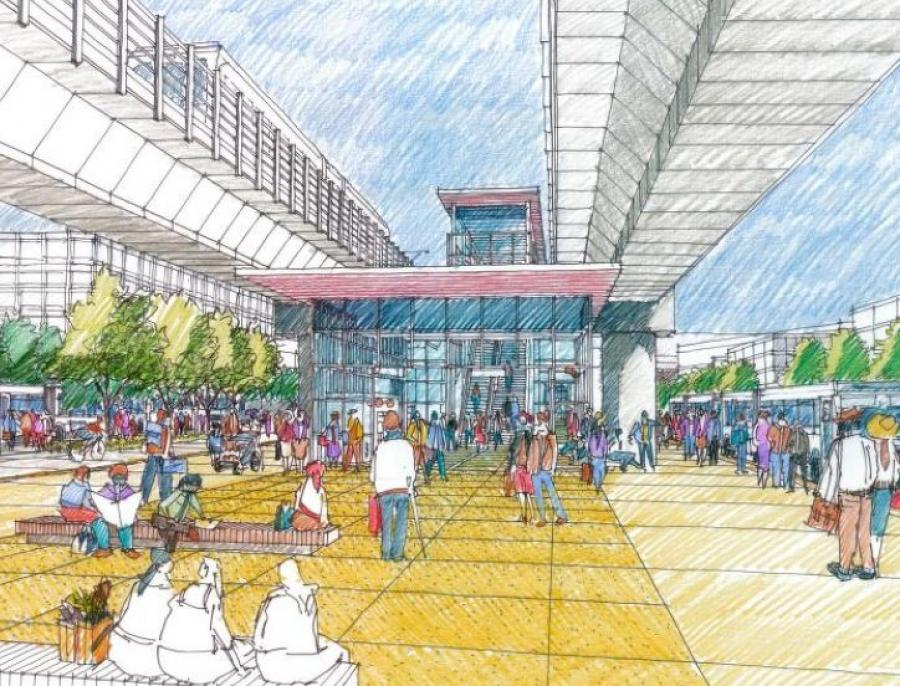 A concept sketch for Downtown Redmond Station showing elevated tracks.