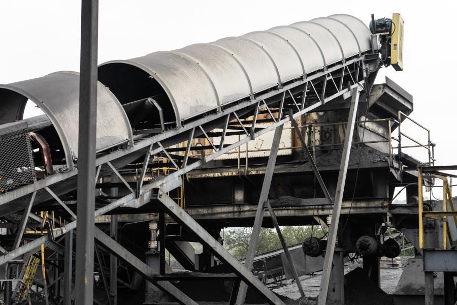 The secondary crusher at Lehigh Anthracite's raw stock pile/processing area.