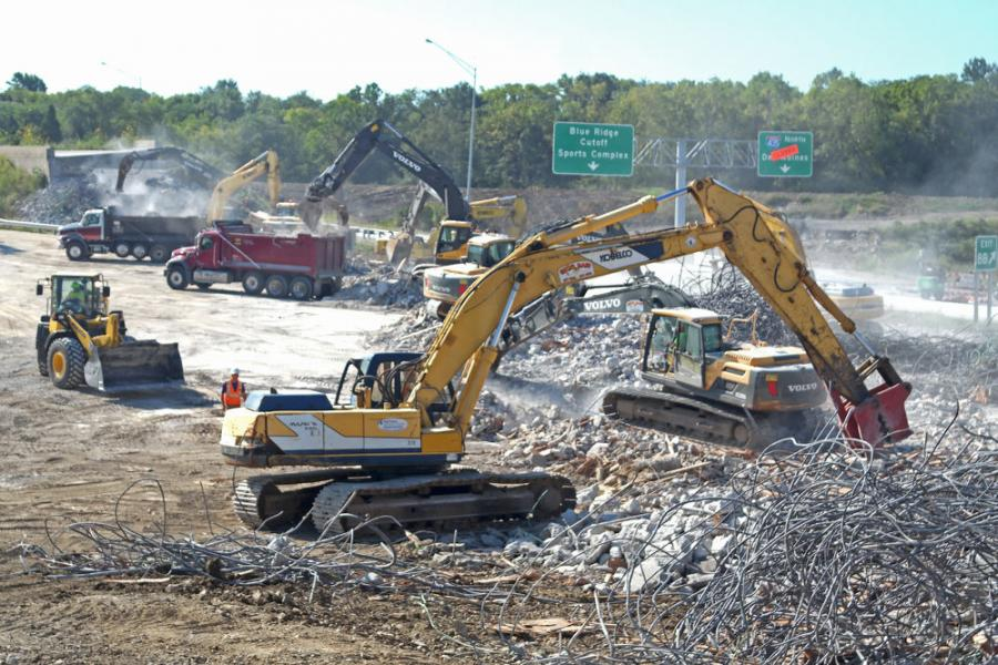 Greg Bair Track Hoe Service Inc. finished the demolition of the I-435/ I-70 interchange ahead of schedule.  (Klorissa Box, GBTHS photo)