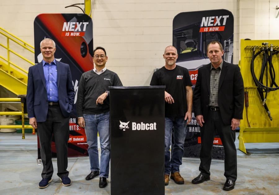 (L-R) are Mike Ballweber, president Doosan Bobcat North America; Scott Park, CEO Doosan Bobcat; Mike Kiefer, site operations manager, Litchfield; and Jim Flynn, vice president of operations, Doosan Bobcat North America.