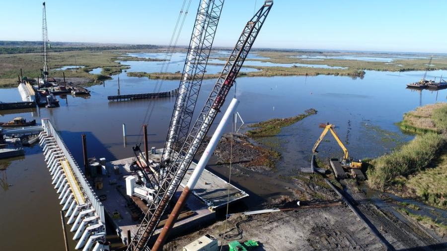 When the barge gate is not being utilized for flood protection, it remains open for marine traffic.