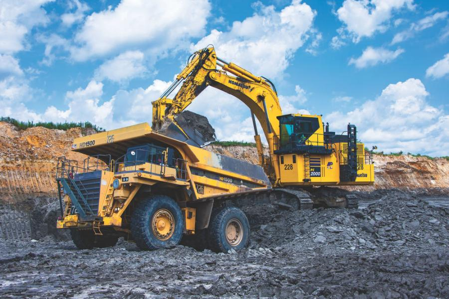 Operator Everett Pierce grabs a bucketful of earth with Sabine Mining Company's PC2000-11. It was the world's first Tier IV model put into production, with a 19-yd. bucket that can load a 150-ton truck in seven to eight passes.