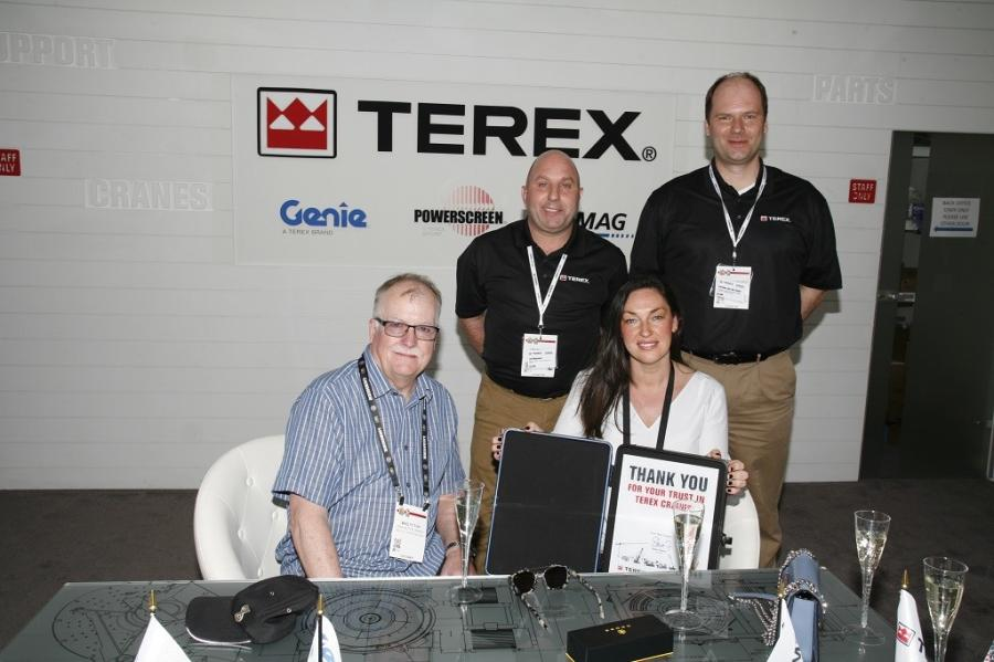 (L-R): Mike Fitton of John Sutch Cranes; Lee Maynard, director of sales Europe and Russia, Terex Cranes; Hayley Sutch-Ware of John Sutch Cranes; Carsten Von Der Geest, VP of EMEAR sales and service, Terex Cranes.