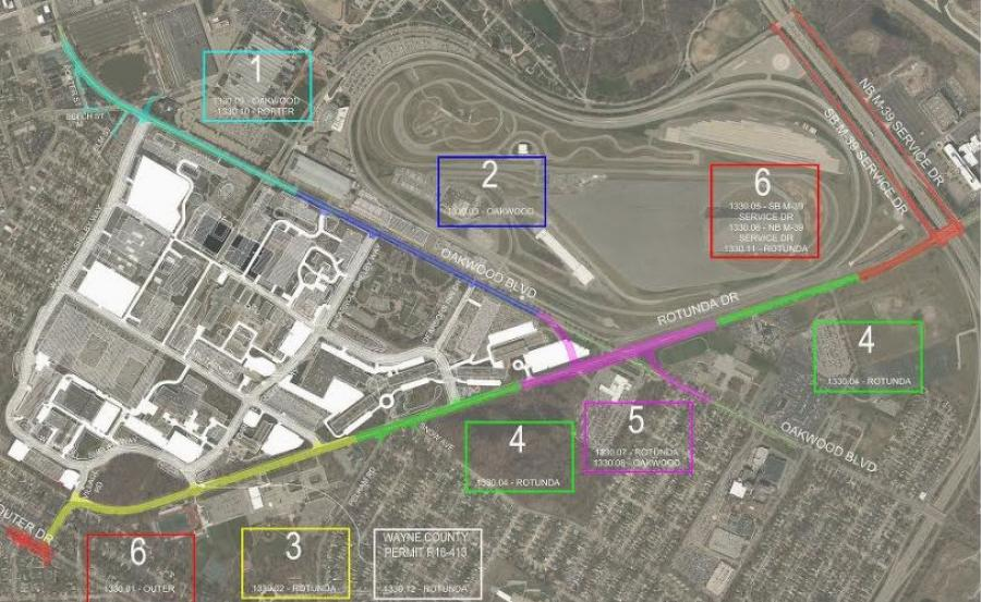 A map of the 6 planned project areas
