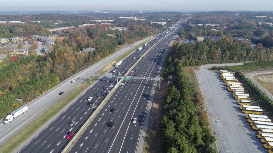 Overhead view of the recently-constructed Interstate 85 Express Lanes Extension project, which was designed to improve mobility and provide more reliable trip times throughout metro Atlanta.