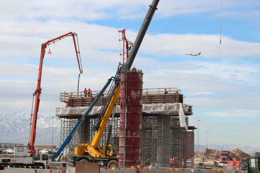 Seen here is the elevated roadway bent cap concrete pour.