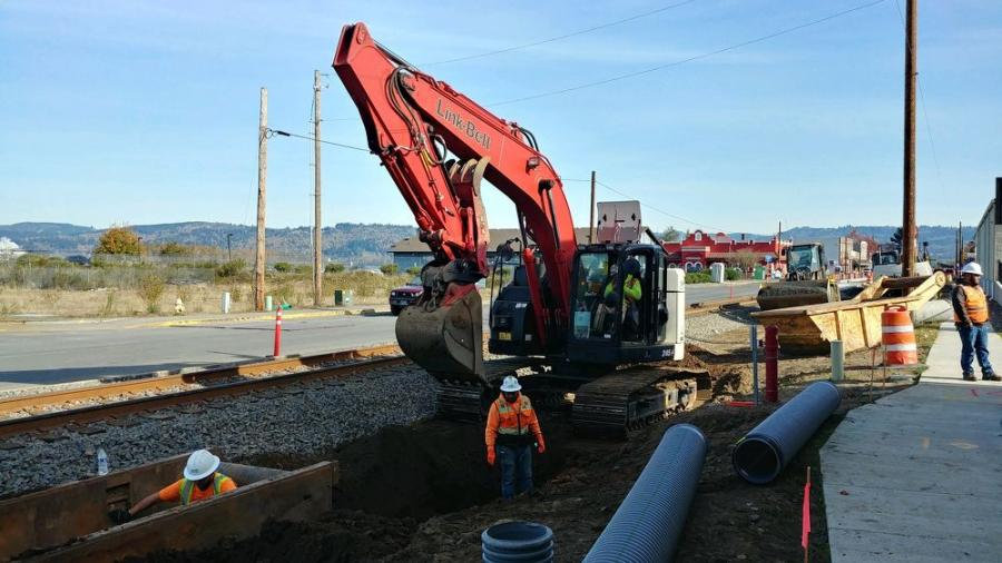 Thompson Brothers Excavation installs a storm sewer line.