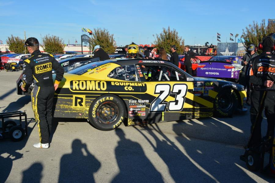 ROMCO has been a long-time sponsor of Joe Nemechek and his son, John Hunter (seen here), in the NASCAR truck series.