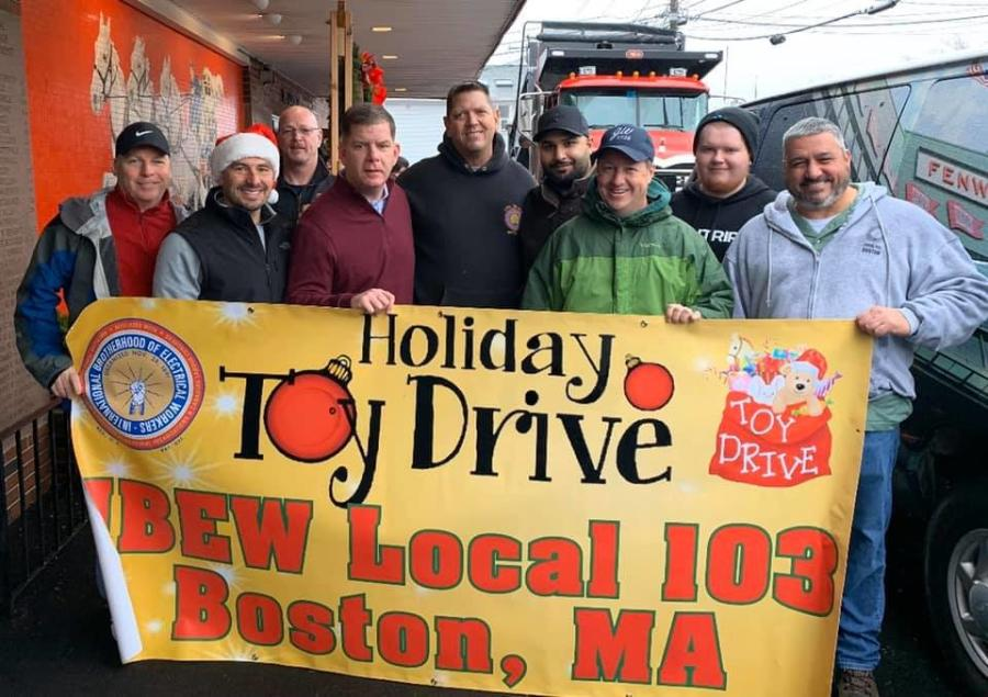 Mayor Martin J. Walsh and IBEW Local 103 at the Mayor's 6th Annual Holiday Toy Drive.
