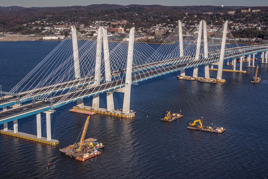 The $3.98 billion Governor Mario M. Cuomo Bridge is one of the largest single design-build contracts for a transportation project in the United States. Located less than 20 miles north of New York City, the cable-stayed span crosses one of the widest parts of the river and is the longest bridge in New York State.