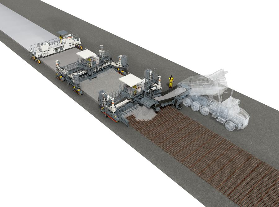 With the new WPS 62i placer/spreader, the intelligent control concept of the powerful, fast folding feeder conveyor guarantees maximum concrete availability for the slipform paver following behind it.