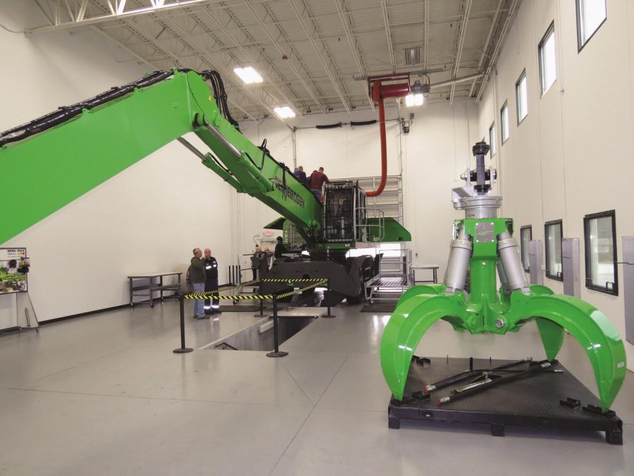 In Sennebogen's three-tiered training bay, visiting technicians can get a hands-on introduction to all areas of the towering material handlers from every angle.