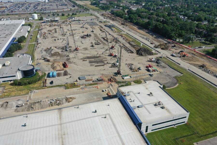 A drone photo taken on July 12, 2019, shows work is under way to prepare the site for the new paint shop at Mack Avenue Assembly Plant in Detroit.
