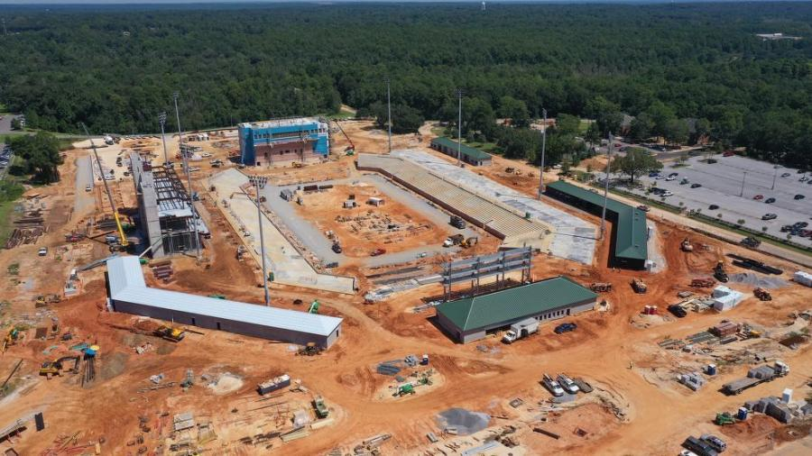 Aerial view of earthmoving and site prep work as the university's new football stadium begins to take shape. (University of South Alabama photo)