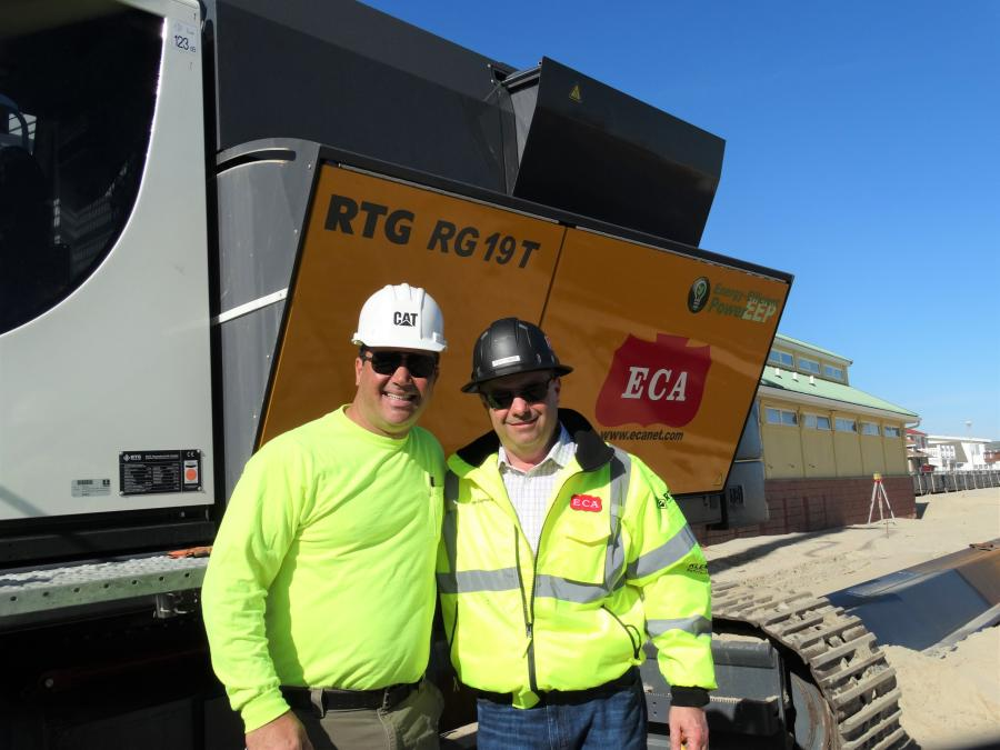 Jason Burke (L), owner of Burke Construction, turned to ECA Philadelphia's Account Manager Steve Sigmund for equipment recommendations before taking on its first pile driving project.