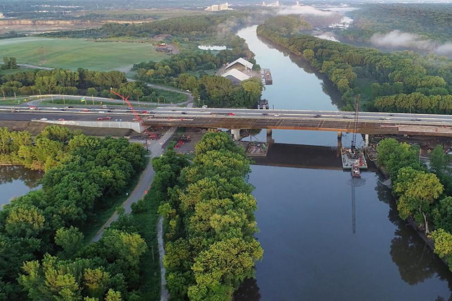 By early September, all the steel girders were in place on the new northbound bridge. Just a month later, Ames Construction crews had all traffic from the existing bridge switched over to the new northbound bridge.