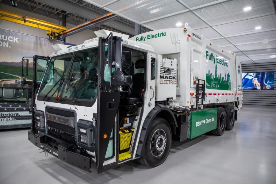 Mack Trucks demonstrated the Mack LR Electric, a fully electric version of the Mack LR refuse model, to officials from the New York City Department of Sanitation (DSNY) at the Allentown, Pa.-based Mack Customer Center.