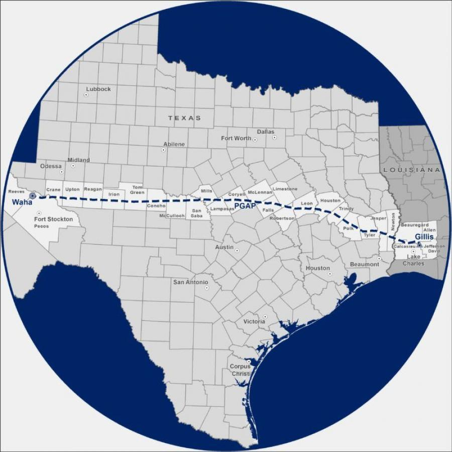 The proposed natural gas pipeline project would span 625 mi. and be 42 in. in diameter.