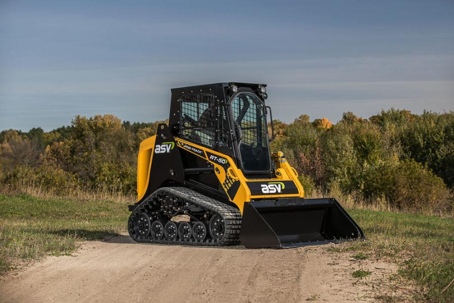 ASV's mid-size RT-50 Posi-Track joins the RT-25 and RT-40 — two of the industry's smallest sit-in compact track loaders — as a powerful, lightweight machine.