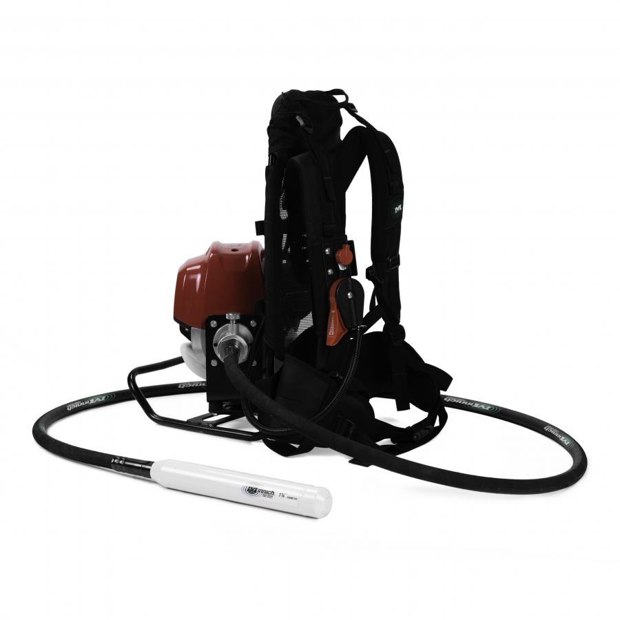 Minnich's 50 cc back pack concrete vibrator is equipped with many new features, including a removable throttle assembly which enables operators to relocate the throttle for easy and comfortable operation.