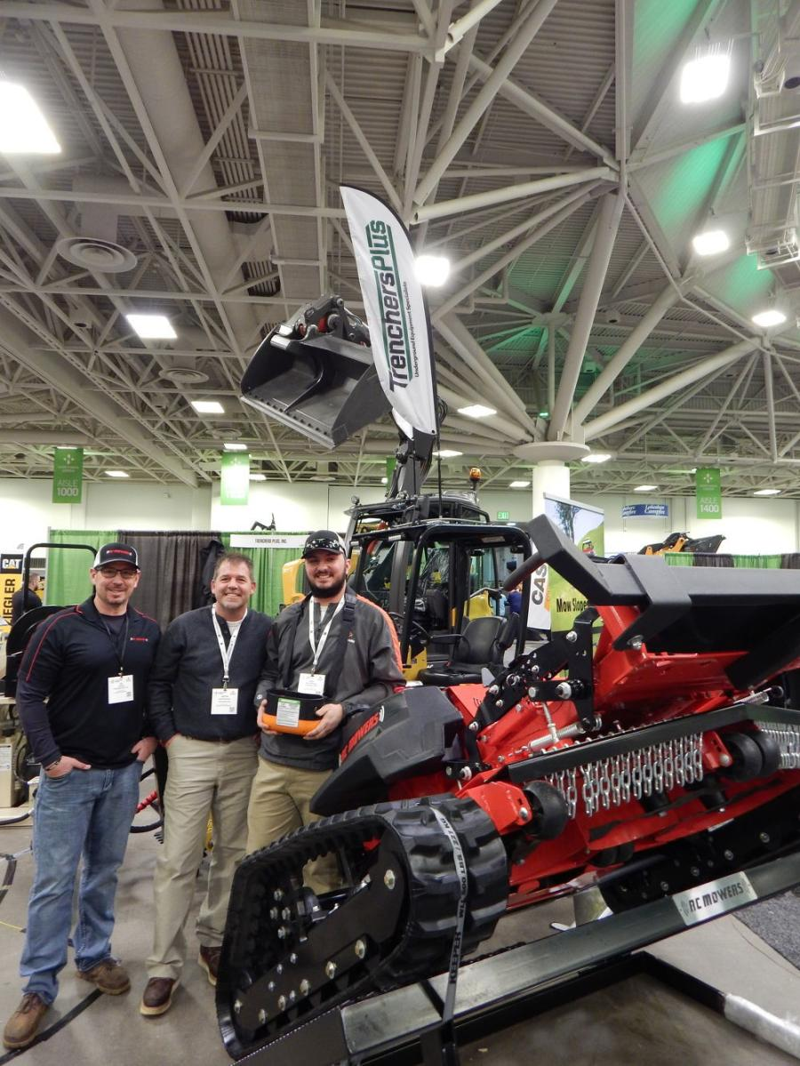 (L-R): Ed Rowe, regional sales manager of RC Mowers, Suamico, Wis.; Jarrod Bahnema, Trenchers Plus, sales; and Nate Rabideaux, Trenchers Plus, sales, of Burnsville, Minn., touted the capabilities of RC Mowers at Green Expo.