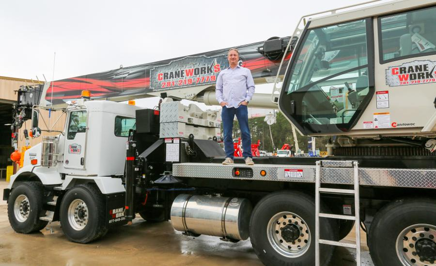 Keith Ayers, CEO of CraneWorks, with the company's new National Crane NBT60L.