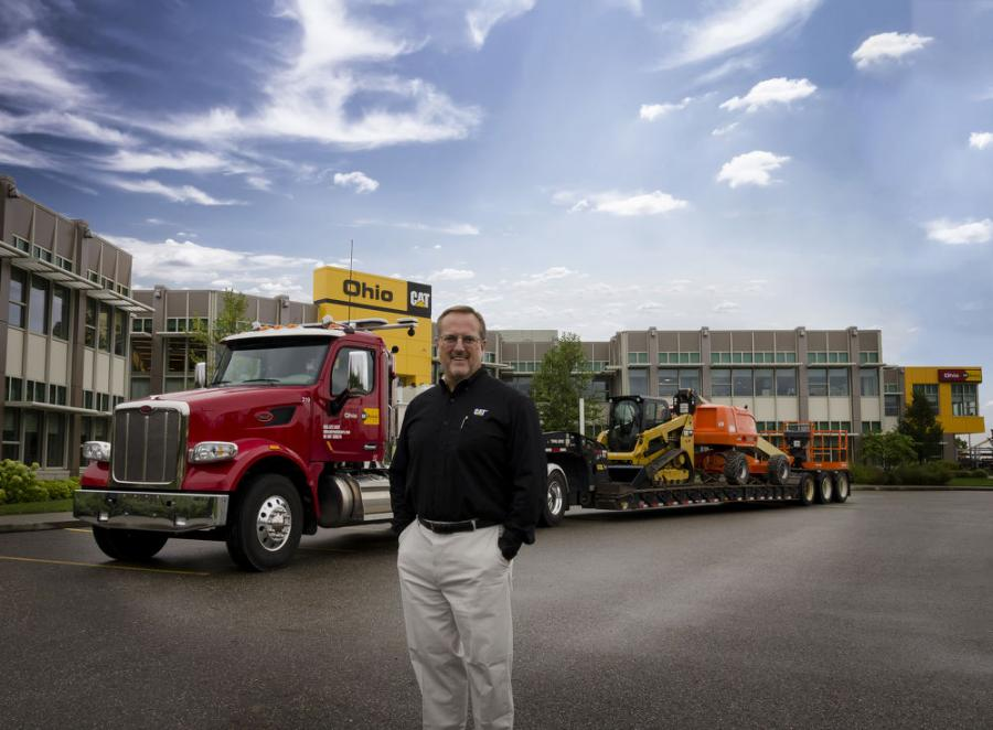 Third generation owner, Ken Taylor, in front of Ohio Cat's corporate headquarters in Broadview Heights, Ohio, kicks off the company's celebration of 75 years of equipment sales and service to customers throughout its business territory.