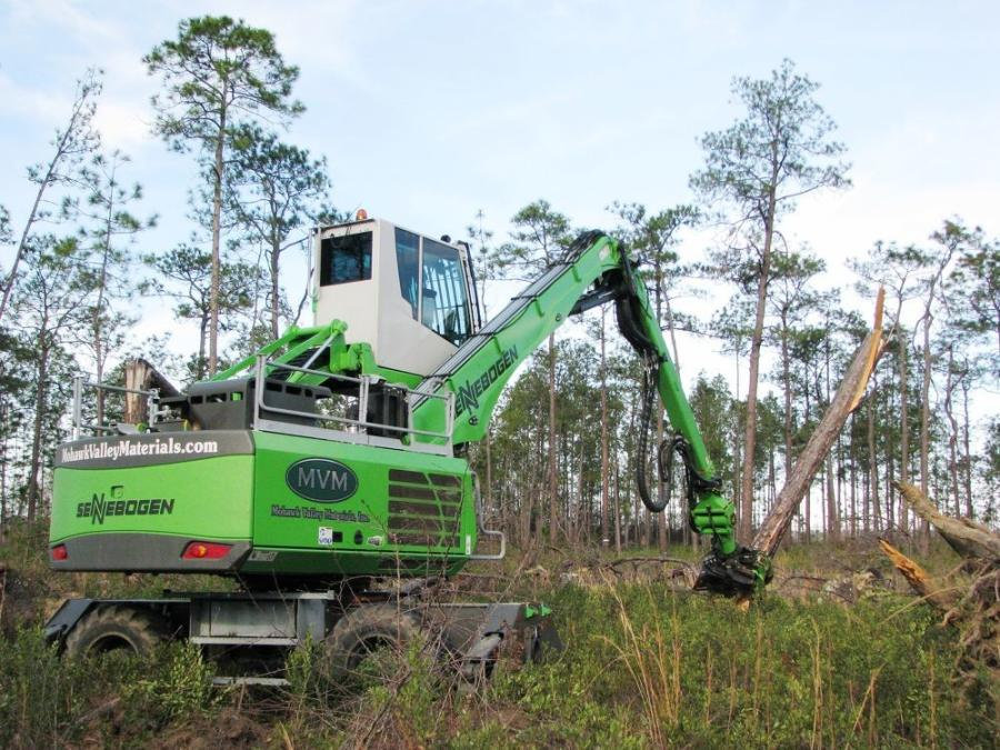 The Sennebogen 718E working to clear Hurricane Michael debris in the Florida Panhandle.