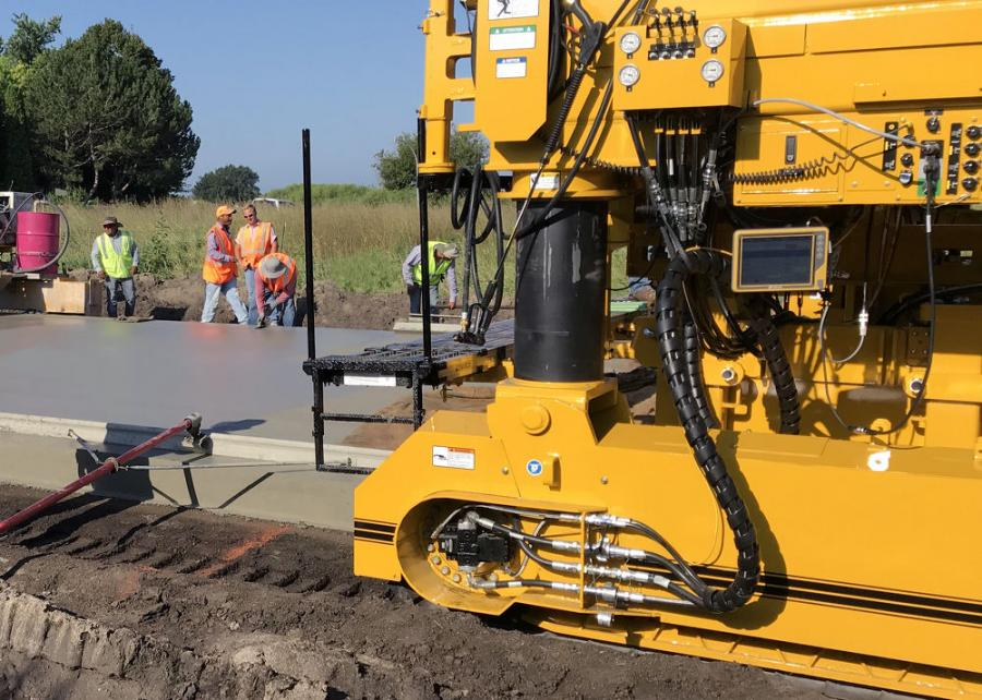 The new GOMACO Navigator, a touch-screen display, is mounted to the side of a GP4 paver at ground level for easy control and monitoring of the G+ paver accessories.