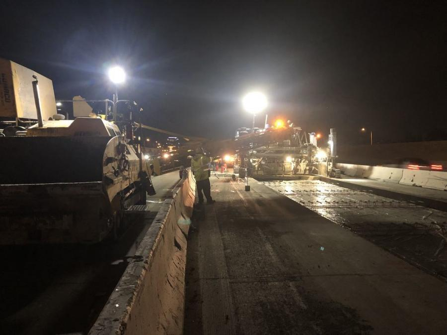 The paving operations required coordination with many crews for work that could only be performed at night due to heavy traffic during the day.
