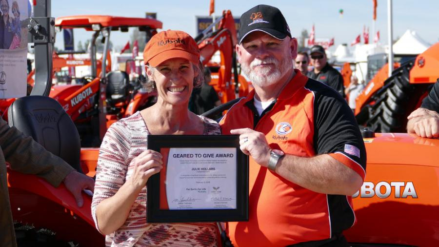 In honor of its fifth full year of giving back to our nation's farmer veterans, Kubota Tractor Corporation announced major enhancements to its Geared to Give program in partnership with Farmer Veteran Coalition. For the first time in the program's history, veterans like Julie Hollars, a 2016 recipient of a Kubota L Series compact tractor, are now eligible to receive a wider range of equipment including higher horsepower tractors, utility vehicles and hay tools.