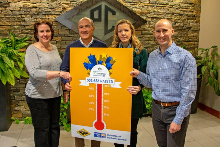 (L-R): Cari Kelley, Community Campaign Manager, United Way; Jay Fayette, President & CEO, PC Construction; Ermina Bolic, Operations Assistant, PC Construction; Jesse Bridges, Chief Executive Officer, United Way. (PC Construction photo)