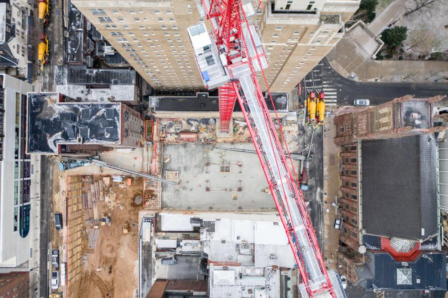 The fourth largest mat foundation pour in Philadelphia history took place last month at The Laurel, a $300 million 48-story luxury condo and apartment building under construction.