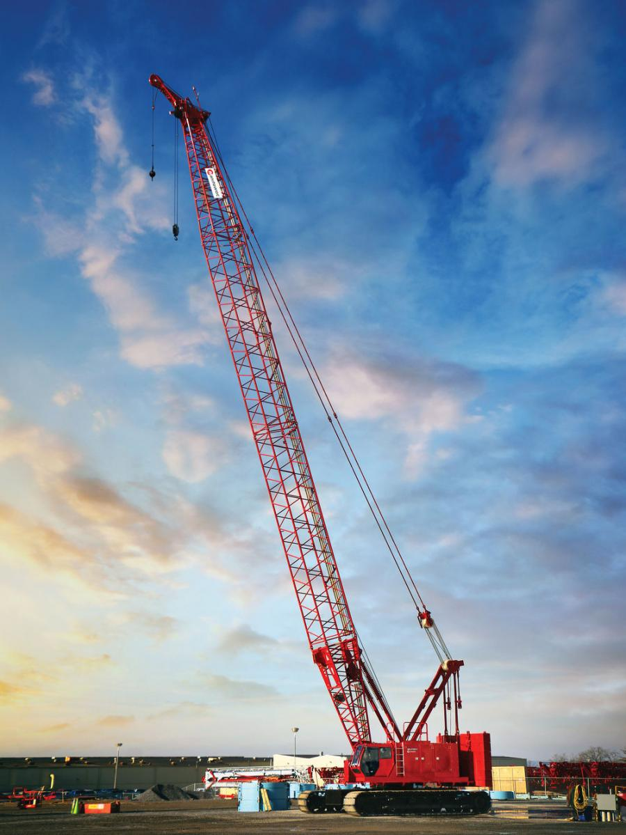The MLC150-1 features a 165 ton base capacity and a maximum boom length of 256 ft. (78 m). A fixed jib of 80 ft. (24 m) with a 29.5 ton (27 t) capacity is available for the crane, and a 170 ft. (52 m) luffing jib with a capacity of 50.2 ton (46 t) is another strong option for the job site.