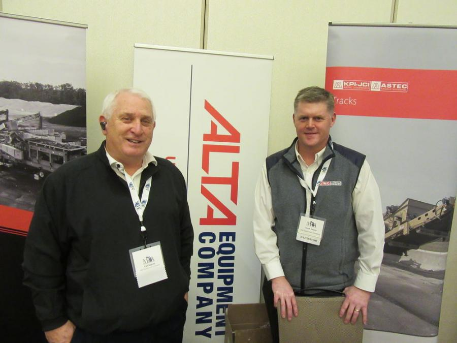 Alta Equipment Company's Carl Kupres (L) and Chuck Detzler were on hand to discuss their company's lineup of Volvo and KPI-JCI equipment at the show.
