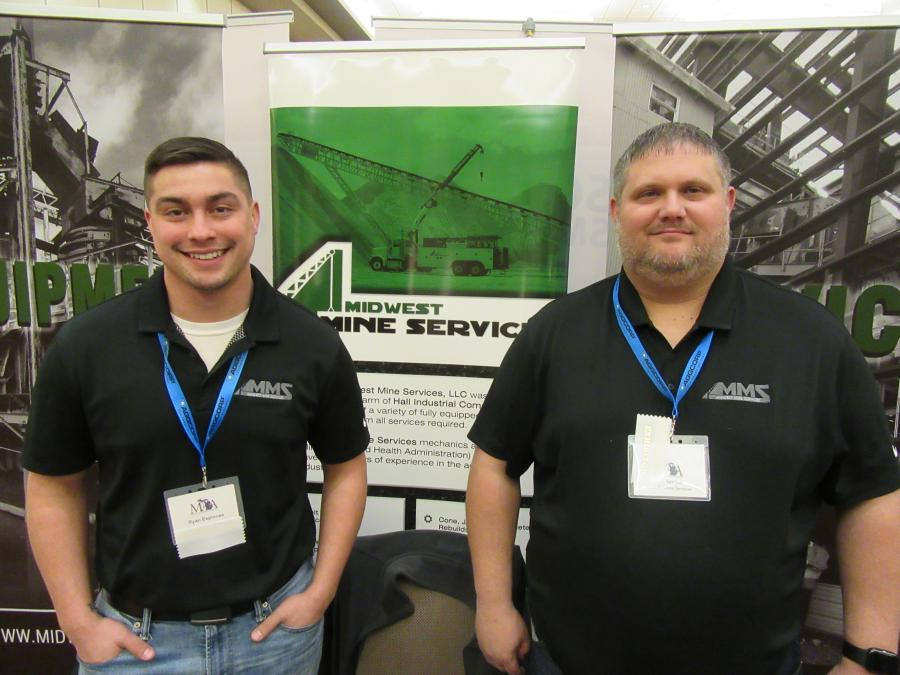 Midwest Miner Services' Ryan Espinoza (L) and Bob Keaton spoke with attendees about their company's design, fabrication and installation services for quarries, mines and recycling operations throughout Michigan and Ohio.