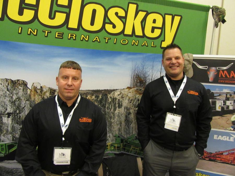Maverick Environmental Equipment's Charlie Stahl (L) and Fred Makenin welcomed attendees to discuss the dealership's lineup of Eagle Crusher and McCloskey machines.