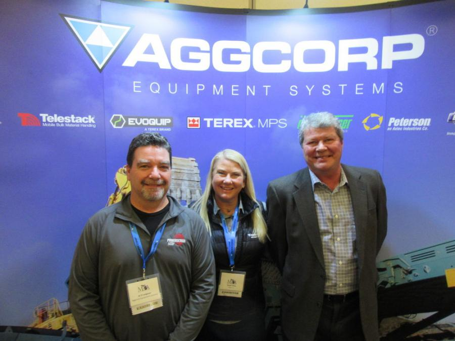 (L-R): Al D'Avignon, Sue Vitaz and Dan Stevick of Aggcorp Equipment Systems were ready to discuss the dealership's lineup of aggregate processing equipment.