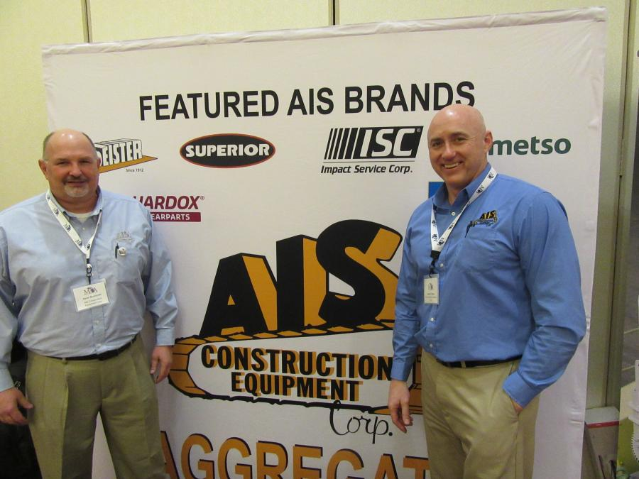 AIS Construction Equipment Corporation's Kevin Bushinski (L) and Shawn O'Mara were ready to discuss the company's lineup of Deister, Hardox, Impact Service Corp., Metso and Superior equipment at the show.