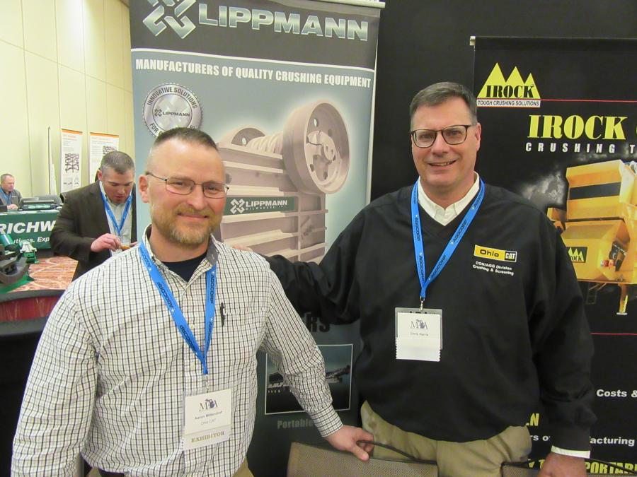 Ohio Cat's Aaron Mittendorf (L) and Chris Harris were ready to discuss the dealership's line of aggregates equipment with attendees.