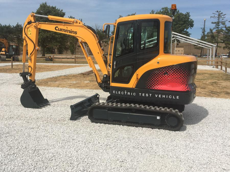 The outdoor exhibit will feature a working prototype of the Cummins-electric-powered Hyundai R35E compact excavator.
