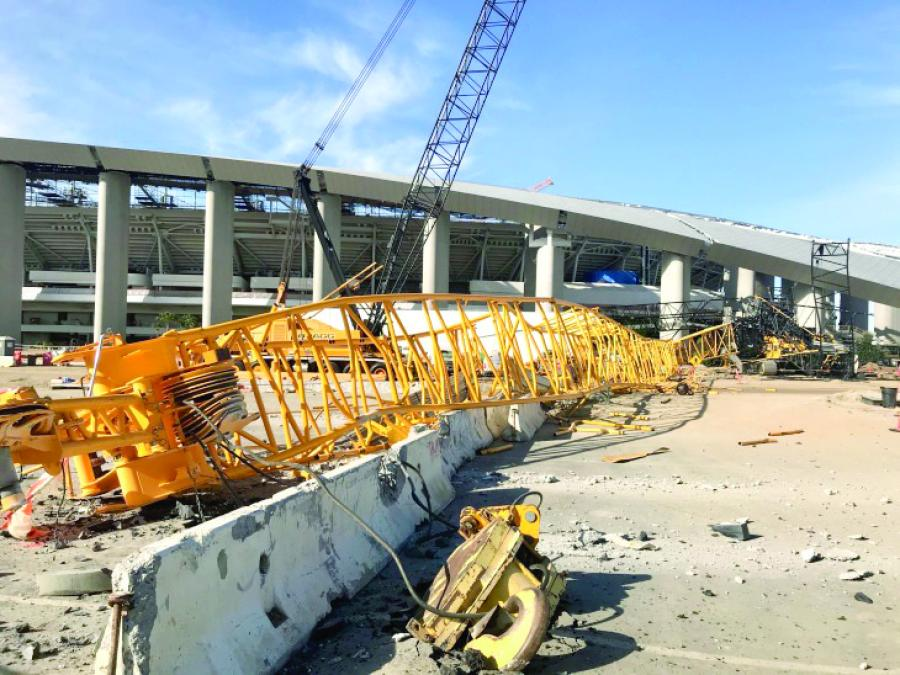 No injuries were reported when a crane collapsed at the new SoFi Stadium site on Feb. 28.