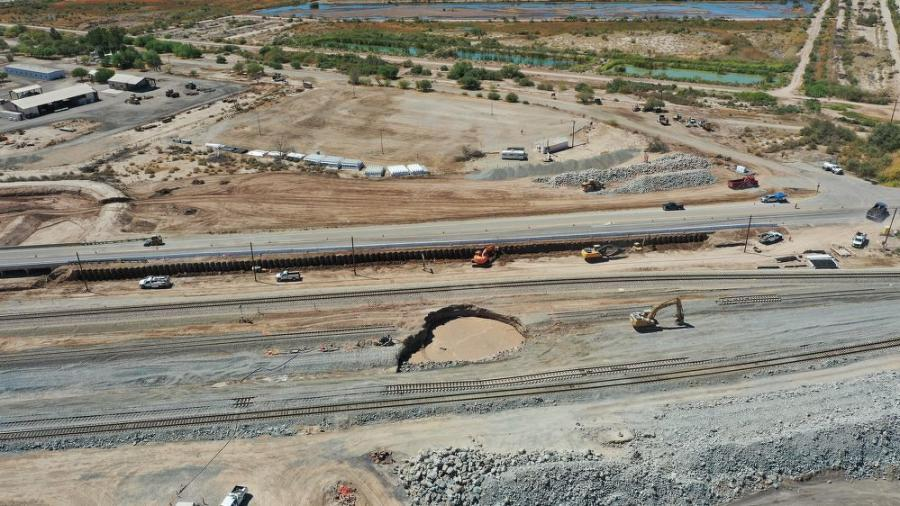 The moving mud pot is affecting Caltrans and the Union Pacific Railway.